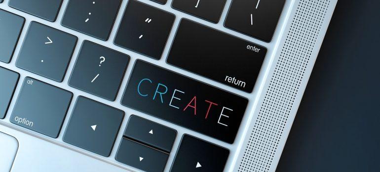 The word create on a keyboard.
