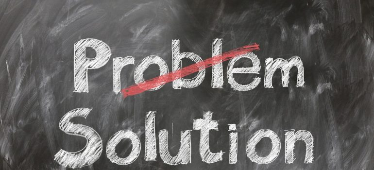 problems with managing small businesses - word problem crossed on the blackboard and solution below