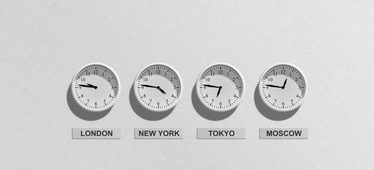 Clocks that tell time in different time zones.