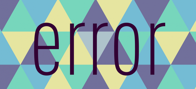 The word error on a background with triangles.