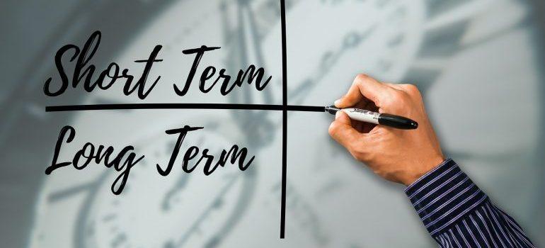 Čovek koji na tabli piše reči short term i long term.