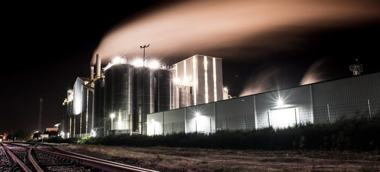 A factory at night.